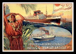 PUBLICITE - VOYAGES EN ALGERIE ET TUNISIE PAR LA CIE GAL TRANSATLANTIQUE - DELLEPIANE VERS 1910 - Publicidad
