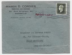 DULAC 1FR20 SEUL LETTRE MARSEILLE 17.XI.1945 TARIF IMPRIME 2EME - 1944-45 Marianna Di Dulac