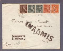 ⌧ Aff. Mercure / Paix  ʘ 03.12.1940 -> Faisans Par Evans  - Inadmis - Retour à L'envoyeur - WW II