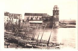 FR66 COLLIOURE - MFIL 220 - L'église Et Le Rocher - Barques De Pêche Catalanes - Belle - Collioure