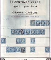 25 C Ceres N° 60 , 43 TIMBRES DE LA GRANDE CASSURE Planche A2 .. ( 9 Scans ) - 1871-1875 Cérès
