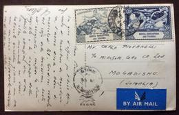 NAIROBI -  DELAMERE AVENUE  - CARTOLINA PA AVION  PER MOGADISCIO IN DATA 18/6/49 - Mundo