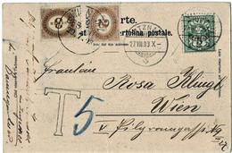"""1903, 5 C. """" VITZNAU """" + Porto Österreich , A4917 - Cartas"""