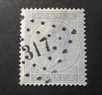 Belgie - Belgique 1865 - 1866 - N° 18 - 20c  - Obl. - Bureau  317 - Roux - 1865-1866 Profilo Sinistro