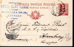 ENTIER POSTAL 1905 - POSTE A RAPALLO - CACHET POSTAL ARRIVEE HAMBOURG AU RECTO - - Stamped Stationery