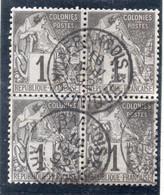 37CRT654- COLONIE GENERALI 1881 ,  Yvert N. 46 QUARTINA Usata. Annullo MARTINIQUE FRANCOIS - Alphée Dubois