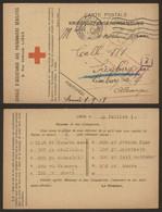 """Carte Postale Croix-rouge """"Kriegsgefangenensendung"""" (Liège 1918) > Prison De Siegburg / Colis, Gepruft 81 Rouge - Prisonniers"""