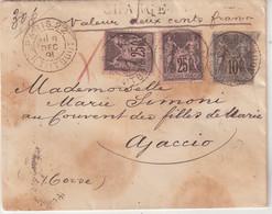 "FRANCE : AFFRANCHISSEMENT A 60 C . TYPE SAGE .  CHARGE  . OBL . "" PARIS 22 "" . 1893 . - 1877-1920: Semi Modern Period"