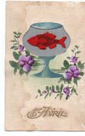 Cpa Brodée Un Verre Avec Poisson - Embroidered