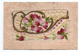 Cpa Brodée  Fleurs - Bestickt