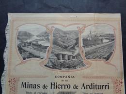 ESPAGNE - ARDITURRI 1905 - COPANIA DE LAS MINAS DE HIERRO DE ARDITURRI - ACTION DE 250 PESETAS OR - Unclassified