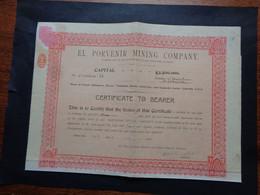 USA - ARIZON 1907 - EL PORVENIR MINING COMPANY - CERTIFICAT DE 1 ACTION DE 1$ - Unclassified