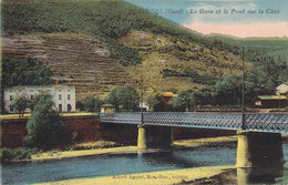 30 GARD La Gare Et Le Pont Sur La Cèze à BESSEGES Carte Colorisée - Bessèges