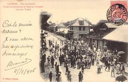 GUYANE Française Emigrants En Triomphe Avec Leur Tadjah à CAYENNE Lors De La Fête Des Coolies - Cayenne