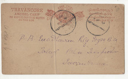 Travancore Old Postal Stationery Postcard Posted ? B210526 - Andere