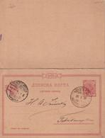 SERBIE 1897 ENTIER POSTAL/GANZSACHE/POSTAL STATIONARY CARTE AVEC REPONSE - Serbia