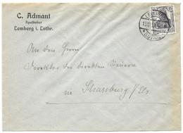 Moselle (Lemberg) L 15pf Germania Obl. LEMBERG (LOTHR) - 1913 - Elzas-Lotharingen