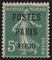Préoblitérés N°24, Semeuse 5c Vert POSTES PARIS 1920, Neuf (*) - TB - 1893-1947
