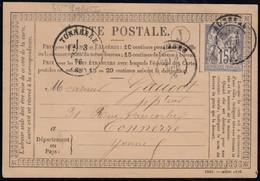 France N°66, Sage 15c Gris, Type I, Cachet Cerclé J Sur CP Précurseur - TB - 1876-1878 Sage (Tipo I)
