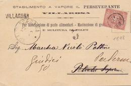 1898 Cartoncino Da Villarosa Per Palermo - Marcofilía