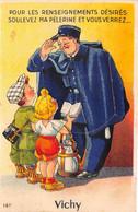 VICHY - Agent De Police En Uniforme (Pélerine) - Carte à Système + Dépliant 10 Vues, Complet - Vichy