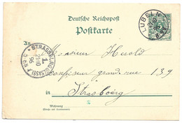 Moselle (Longeville Les St Avold) EP 5pf Reichspost Obl. LUBERN - 1896 - Elzas-Lotharingen