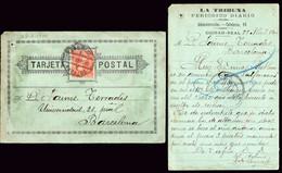"España - Edi O TP 218 - Postal Publicitaría ""La Tribuna - Periódico Ciudad Real"" + Mat ""Amb Desc I  - 7 - Badajoz"" - Cartas"