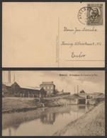 """Peter Benoit - N°385 Sur CP Vue (Bossuyt Canal & Pont) Obl Simple Cercle """"Avelghem"""" > Eecloo - Brieven En Documenten"""