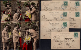 "España - Edi O TP 242 - Lote De 6 Postales Distintas Serie ""Ernesto - Madrid"" + Mat ""Ambulante I - 1 Monforte - Vigo"" - Cartas"