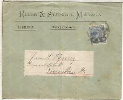 MALAGA A ALEMANIA IMPRESOS ALFONSO XIII PELON ELLER & STUNKEL - Cartas