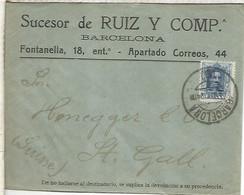 BARCELONA A SUIZA 1924 ALFONSO XIII VAQUER - Cartas