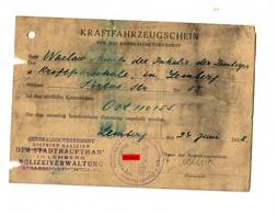 GG: Kraftfahrzeugschein Lemberg 1942, Gebührenmarken, Fahrschulauto - Occupation 1938-45