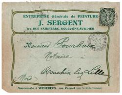 Lettre 1905 Enveloppe Publicitaire Timbre Semeuse Gare Boulogne-sur-Mer Pas-de-Calais Entreprise Peinture - 1877-1920: Semi Modern Period