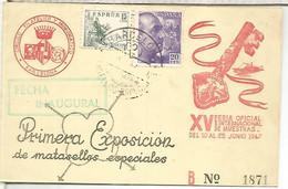 BARCELONA 1947 MAT EXPOSICION DE MATASELLOS ESPECIALES - Cartas