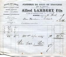 Gisors(27): Facture  Alfred Lambert, Fonderie De Suifs En Branches, 1909 - 1900 – 1949