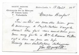 Liège  Exposition 1905 Carte De La SA Ciments De La Meuse Rivière Lustin Profondeville 1904 - Liège
