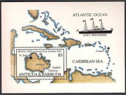 Antigua & Barbuda 1985 - Royal Visit English Harbour, Ship Map, Caribbean Sea, Joint Issue Miniature Sheet MNH - Antigua And Barbuda (1981-...)