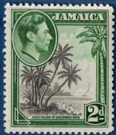 Jamaica 1938 2 D Cocos Pals At Columbus Cove 1 Value Perf 12½ MH 2105.2568 - Trees