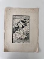 Illustration Lithographie Ancienne Format A3 Sarah Bernhardt Jeanne D'Arc Grasset Litho - Lithographies