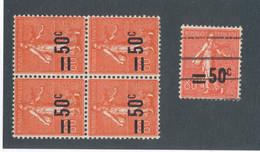 FRANCE - N° 220X2 NEUFS* AVEC CHARNIERE+220X2**+220 OBLITERE AVEC SURCHARGE LEGEREMENT DEPLACEE - 1926/27 - Curiosa: 1921-30 Postfris