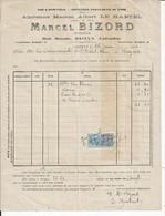 FACTURE ENVOYEE A LA MERE SUPERIEURE DE L'HOTEL DIEU DE BAYEUX  Distillerie MARCEL BIZORD A BAYEUX 1922 - 1900 – 1949