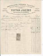 FACTURE ENVOYEE A LA MERE SUPERIEURE DE L'HOTEL DIEU DE BAYEUX  Porcelaine Jaume A Bayeux 1893 - 1800 – 1899