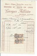 FACTURE ENVOYEE A LA MERE SUPERIEURE DE L'HOTEL DIEU DE BAYEUX  Beurre Et Oeufs GEORGES FILLATRE  A Bateux 1934 - 1900 – 1949