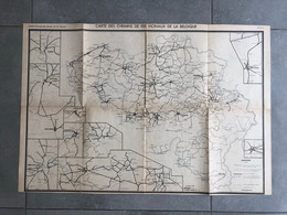 1941 Carte Trajets De La Société Nationale Des Chemins De Fer Vicinaux De La Belgique Affiche  Tram Tramway - Railway