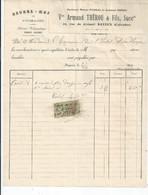 FACTURE ENVOYEE A LA MERE SUPERIEURE DE L'HOTEL DIEU DE BAYEUX Beurre Et Oeufs ARMAND THEROU A BAYEUX  1923 - 1900 – 1949