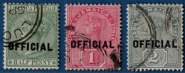 Jamaica 1890 Official Overprint On ½ - 2 D Victoria 3 Value Cancelled 2105.2580 - Jamaica (...-1961)