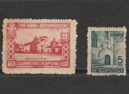 Espagne 2 Timbres Ayuntamiento De Barcelone 1930 Mi 543 Et Pro Union Iberoamericana Pabellon De Argentina 1938 Mi ZB 19 - Altri