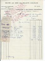 FACTURE ENVOYEE A LA MERE SUPERIEURE DE L'HOTEL DIEU DE BAYEUX Oeuvre Les Amis Des Soldats Aveugles 1960 - 1950 - ...