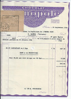 FACTURE ENVOYEE A LA MERE SUPERIEURE DE L'HOTEL DIEU DE BAYEUX  Chocolat Monopole 1934 Avec Recepisse Du Mandat - 1800 – 1899