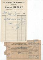 FACTURE ENVOYEE A LA MERE SUPERIEURE DE L'HOTEL DIEU DE BAYEUX Cidre En Gtros  HEBERT A LONGRAYE Avec Laissez Passer 194 - 1900 – 1949